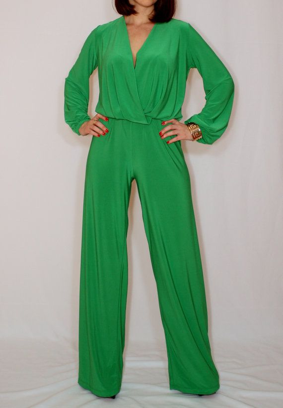 0ca77ead54ba Size Medium - Last size - Green wide leg jumpsuit women Green long ...