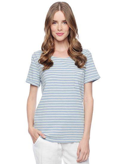 Splendid Official Store, Indigo Stripe Short Sleeve Tee, light wash, Womens : Tops : Short Sleeve, ST584X3LT