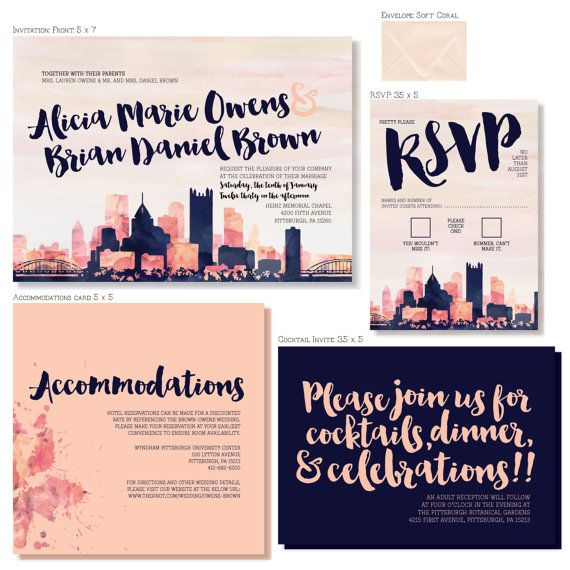 Kansas City Watercolor Skyline Wedding Invitations 4 Piece Invitation Stationery Suite Customized To Match Your