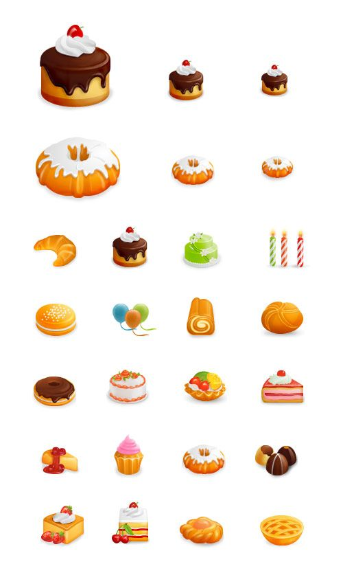 Yummy Free Food And Cakes Icon Set Icon Kuchen Projekte Zeichnen
