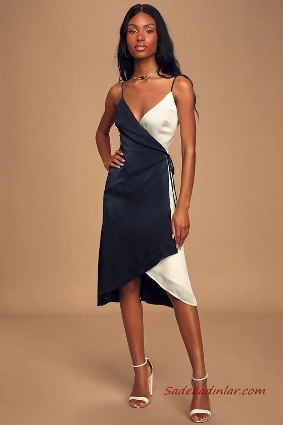 Yaz Davetleri Icin Carpici Ve Sik 2020 Abiye Elbise Modelleri Turuncu Saten Mini Uzun Kollu V Yakali 2020 Wrap Elbise Elbise Modelleri Elbise