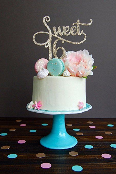 Amazon Com Shxstore Gold Monogram Sweet 16 Cake Topper