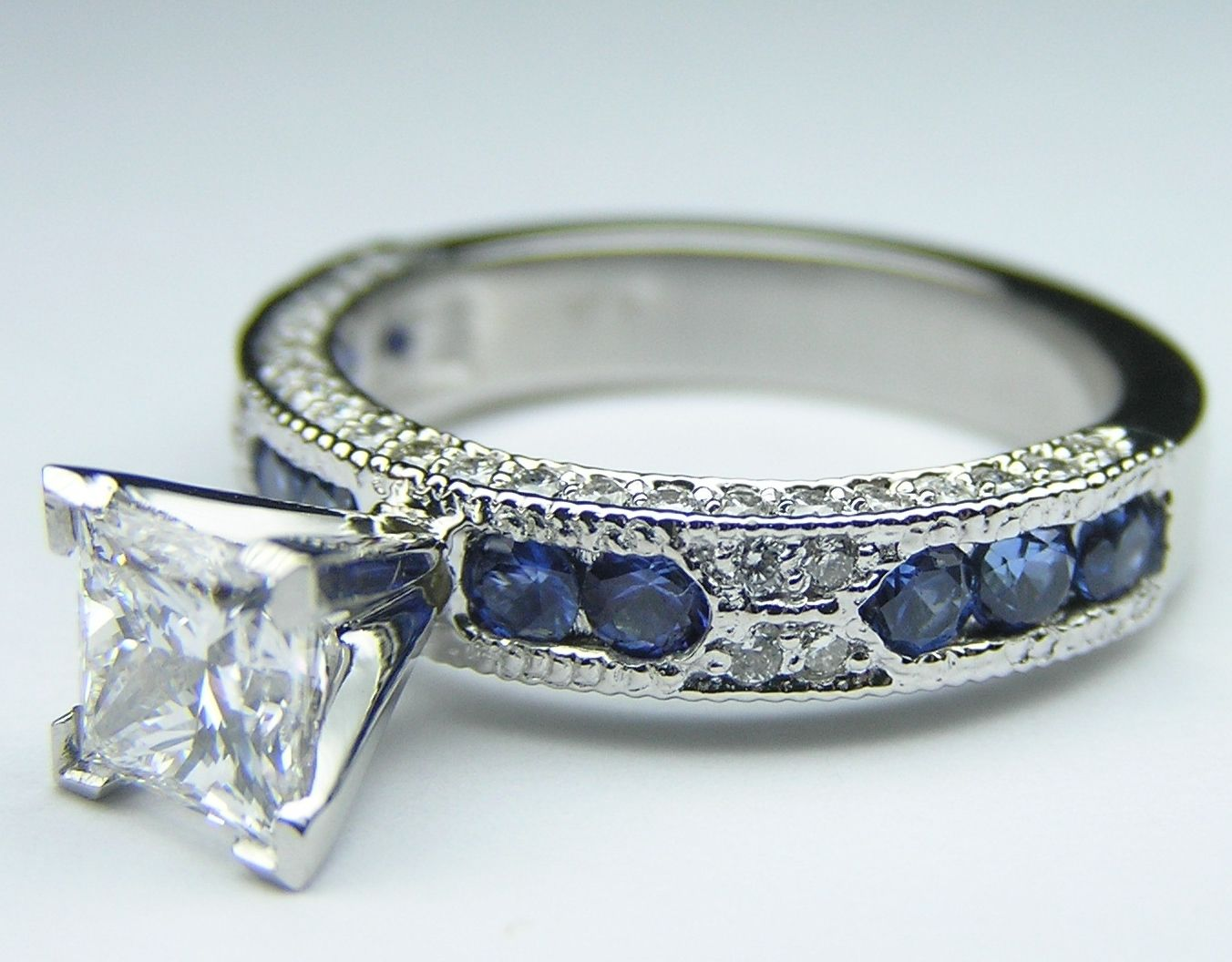 Princess Cut Diamond And Sapphire Engagement Ring