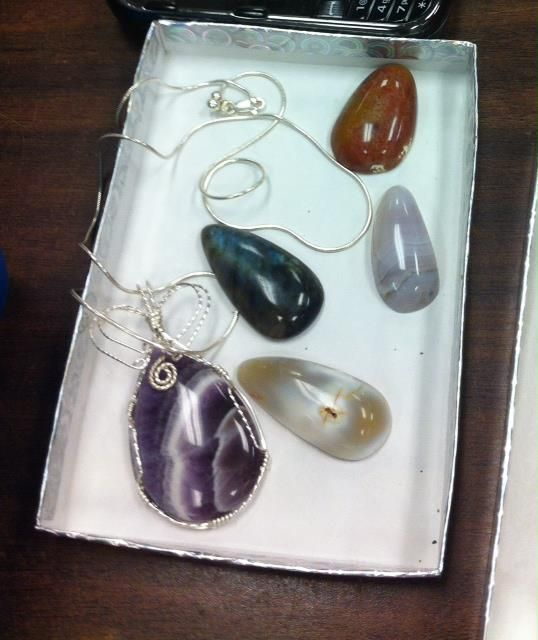 Some of Julie's finished cabs from the Huntsville Gem and Mineral Society's lapidary shop