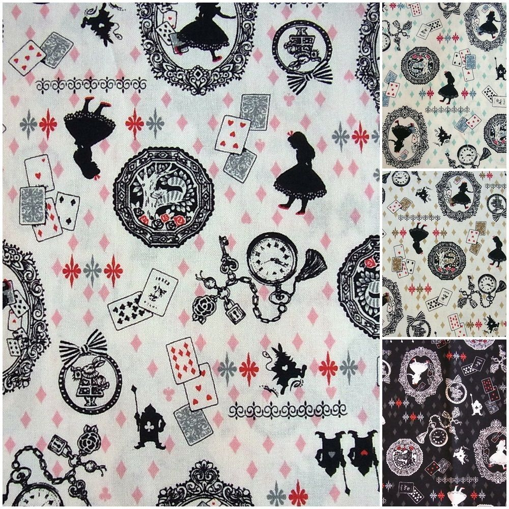 Details about kokka alice in wonder land cotton fabric colour