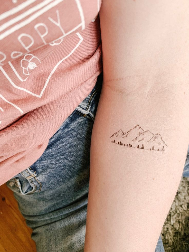 Photo of Mountain and trees tattoo Set of 2 | Hand drawn fine line tattoos by …