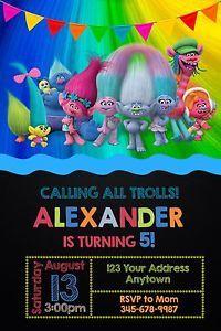 Trolls Fiesta de Cumpleaños Invitaciones Personalizadas impresión