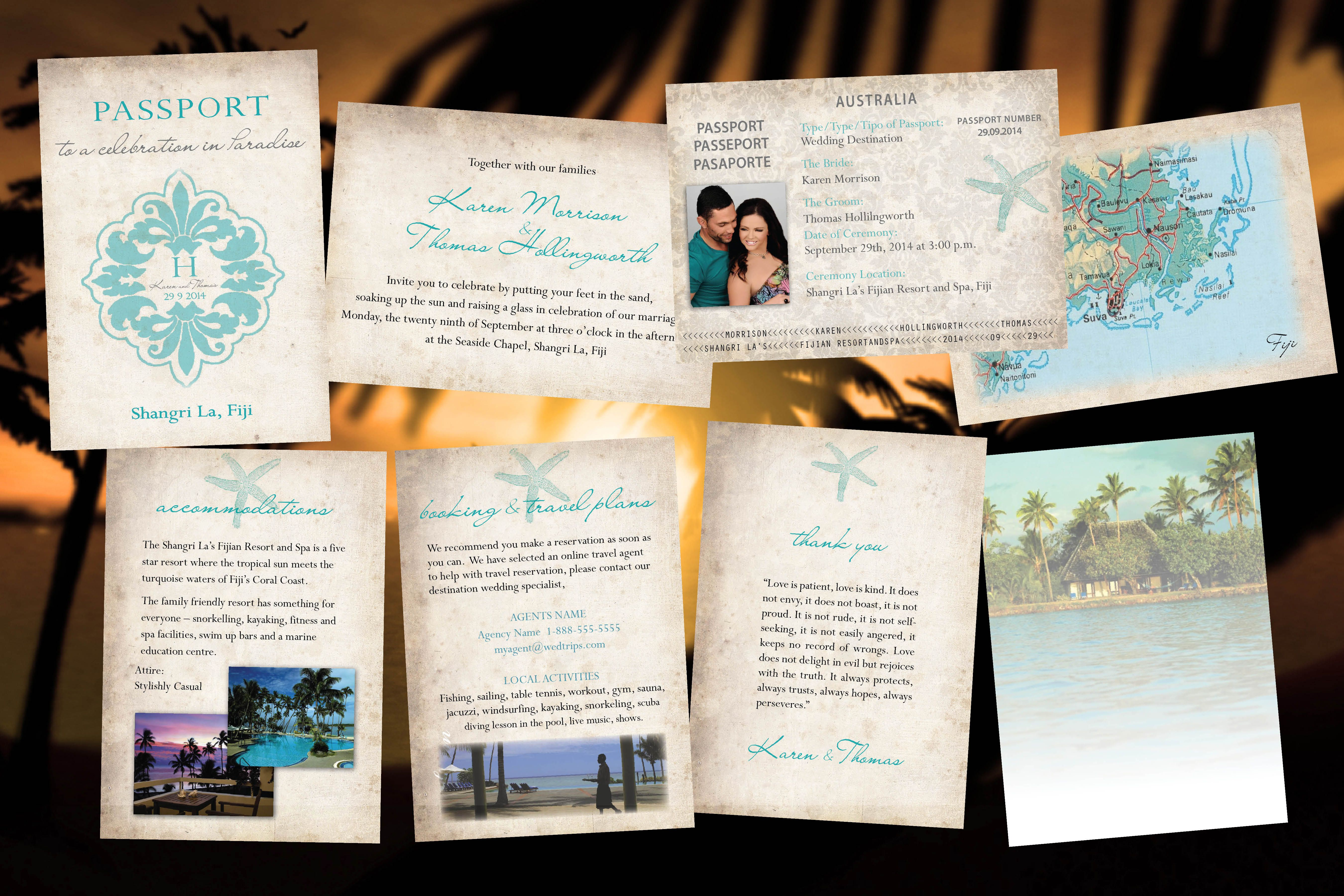 Passport wedding invitations paradise destination wedding passport wedding invitations paradise destination wedding fiji bali mexico cabo dominican teal starfish rustic natural paper gumiabroncs Image collections
