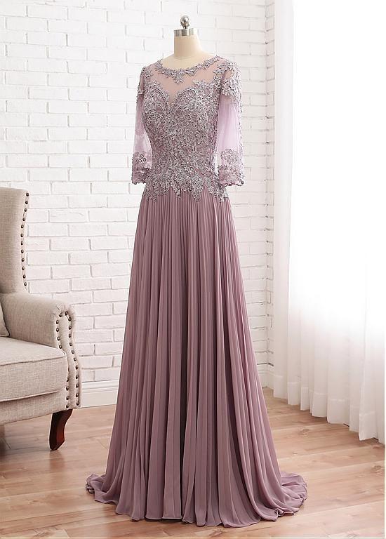 ce3f5d656 comprar Fabuloso vestido de tul y escote redondo de gasa de una línea de la  madre de la novia con apliques de encaje con cuentas de descuento en  Dressilyme. ...