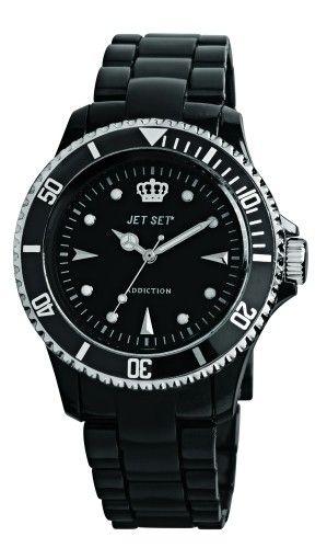 Jet Set Womens Addiction Plastic Watch - Black Rubber Strap - Black Dial - Jetj16354-11