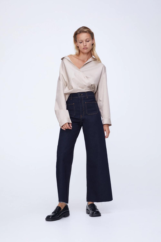Zw Premium Patch Pocket Marine Straight Leg Jeans Zara United States Straight Leg Jeans Straight Leg Casual Style