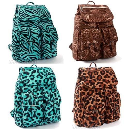 Zebra Leopard Backpacks Bookbags Animal Print Backpack Book Bag ...