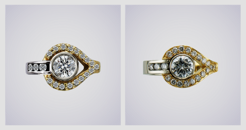 CAD sketch and finished diamond and yellow gold ring.