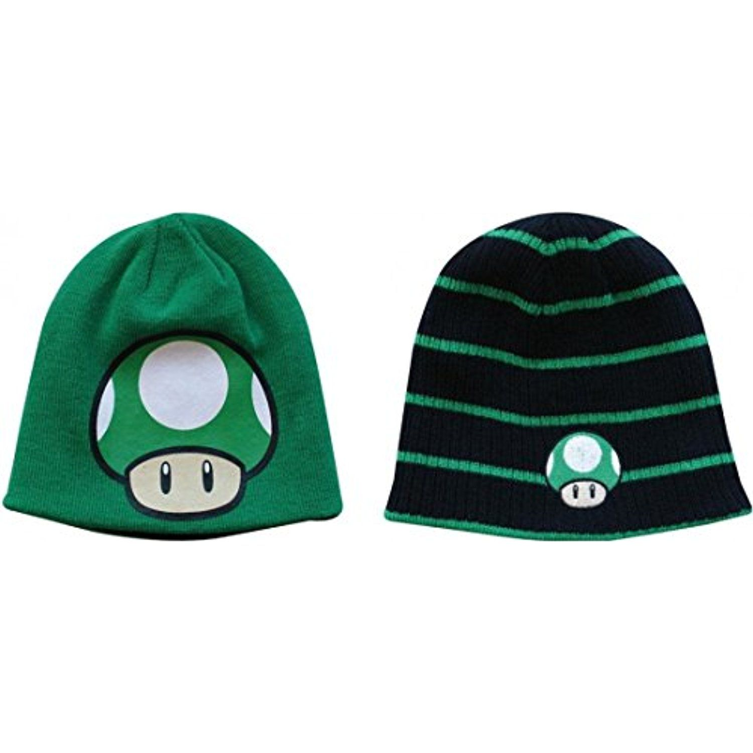 f7354c47235 Nintendo Super Mario Bros. 1Up Mushroom Reversible Beanie - Black and Green     Find out more about the great product at the image link.