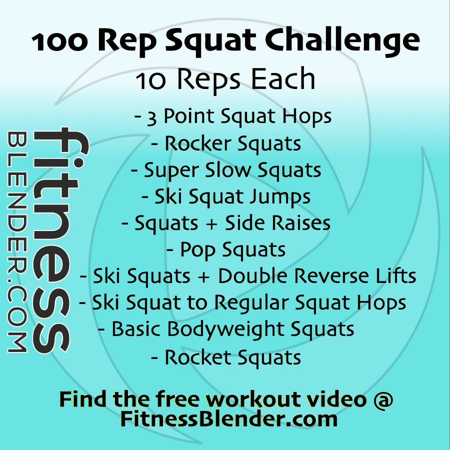Fitness Blender's 100 Rep Squat Challenge Printable: Most ...