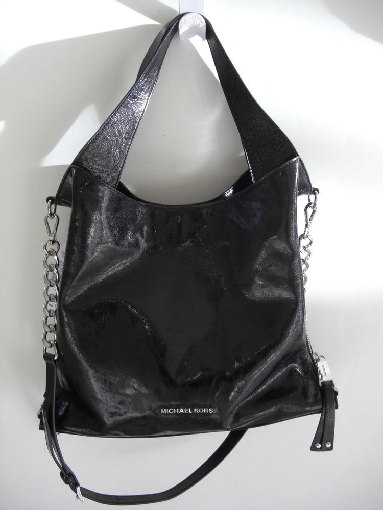Michael Kors Devon Black Leather Shoulder Tote Silver Zipper Sides Nwt 398 Michaelkors Totespers