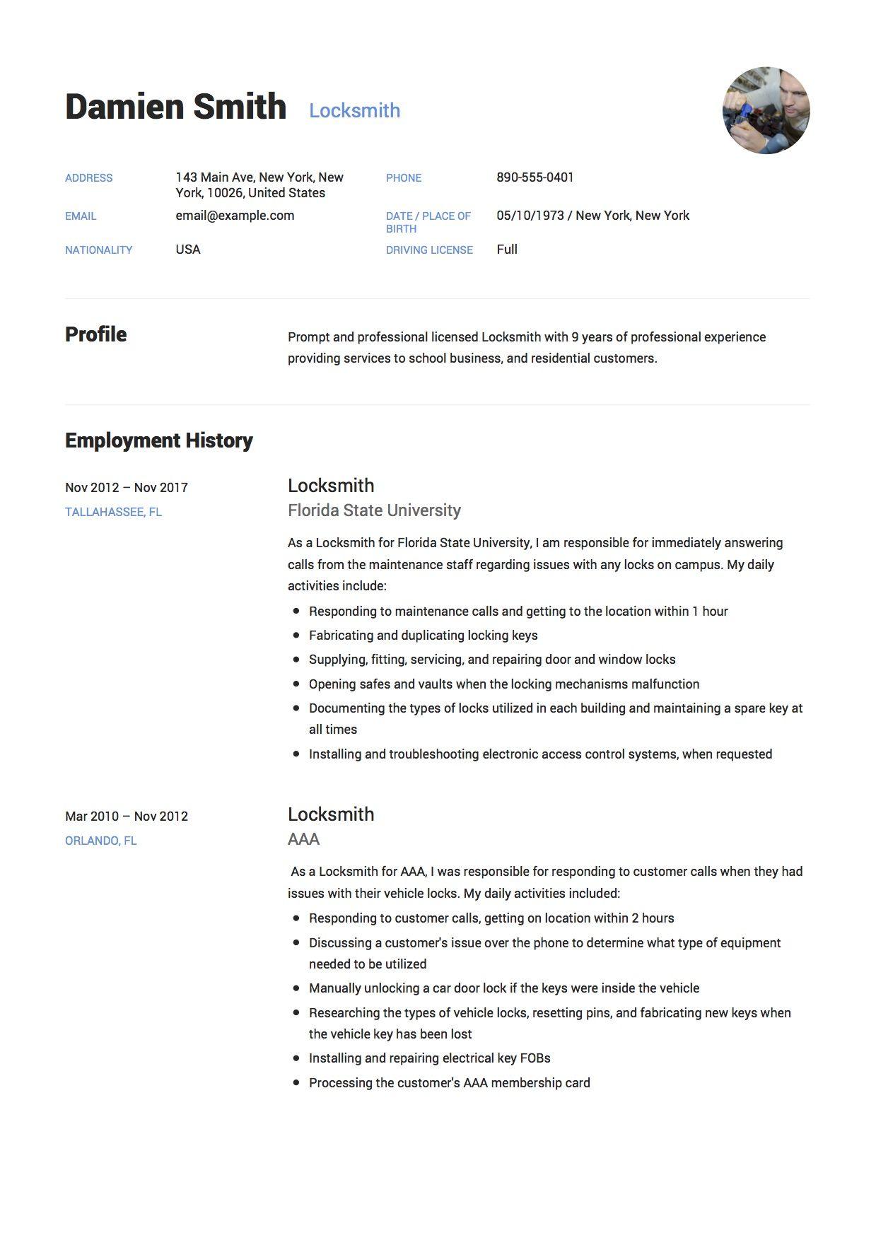 Locksmith Resume Writing Guide 12 Samples Resume Examples