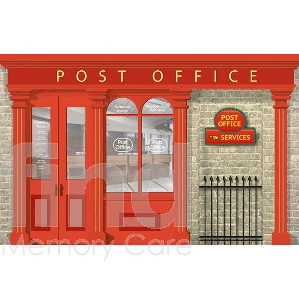 Post Office Mural And Pillar Box Bundle For Dementia Care Homes And Hospitals Office Mural Dementia Care Homes Dining Room Murals