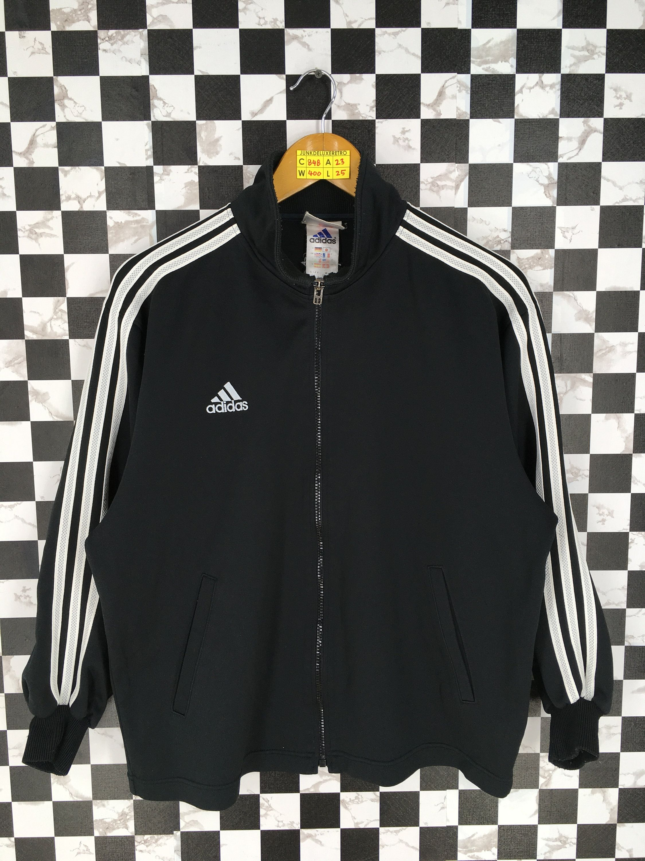 Vintage Adidas Three Stripes Track Top Jacket Medium 90 S Adidas Equipment Outerwear Zipper Coat Adidas Black Sport Tr Jacket Tops Stylish Jackets Denim Fabric [ 3000 x 2250 Pixel ]