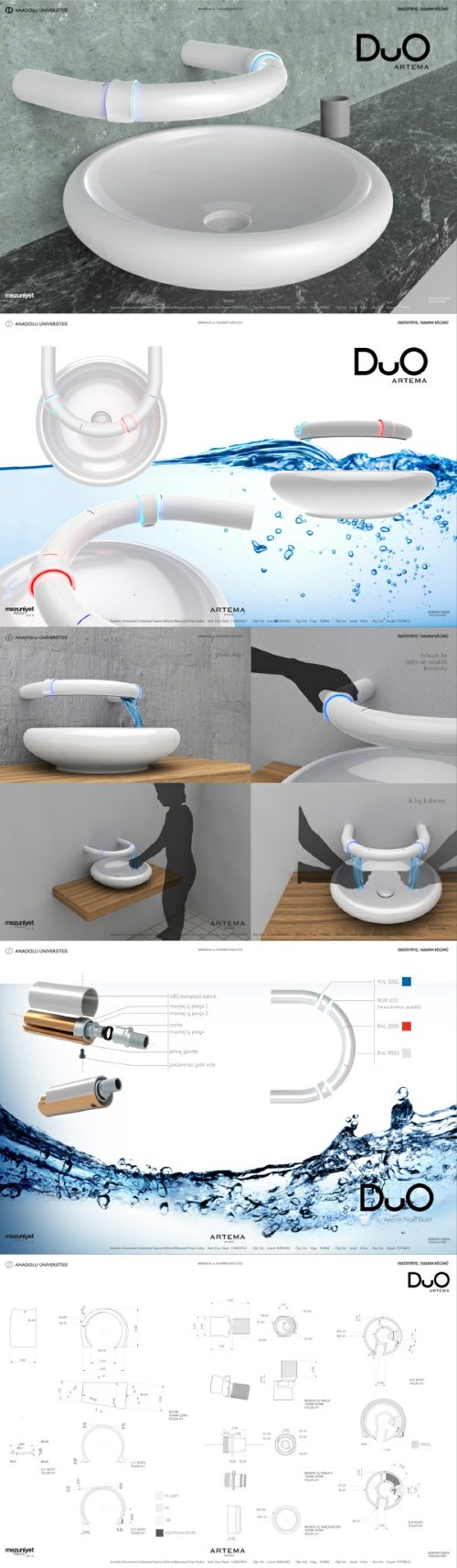 Duo是一款允许两个人同时使用的水龙头 外形为一个半圆型管道 上面套