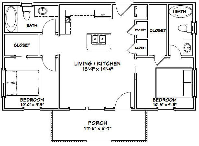 36x20 House 2 Bedroom 2 Bath 720 Sq Ft Pdf Floor Plan Etsy Guest House Plans Tiny House Floor Plans Small House Floor Plans