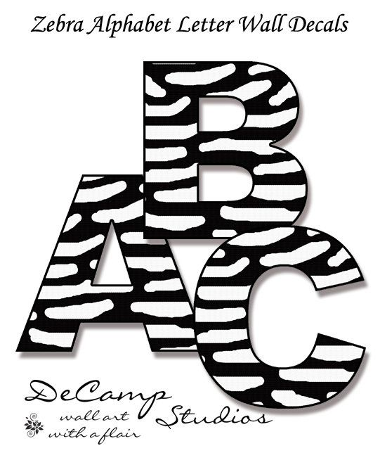 Zebra Alphabet Letters Wall Art Decals For Teen Girl Or Boy, Kids Room,  Baby Nursery, And Childrens Bedroom Space. Spell A NAME Or Your Favorite  SAYING # ...