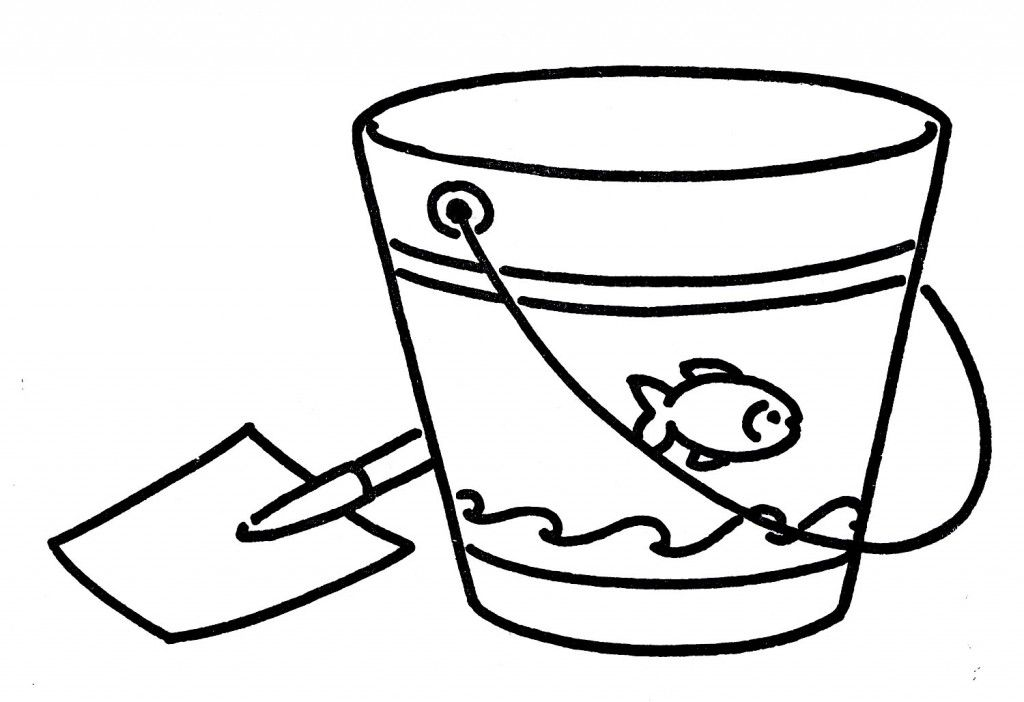 Vintage Line Art Shovel And Pail Line Art Bucket Drawing