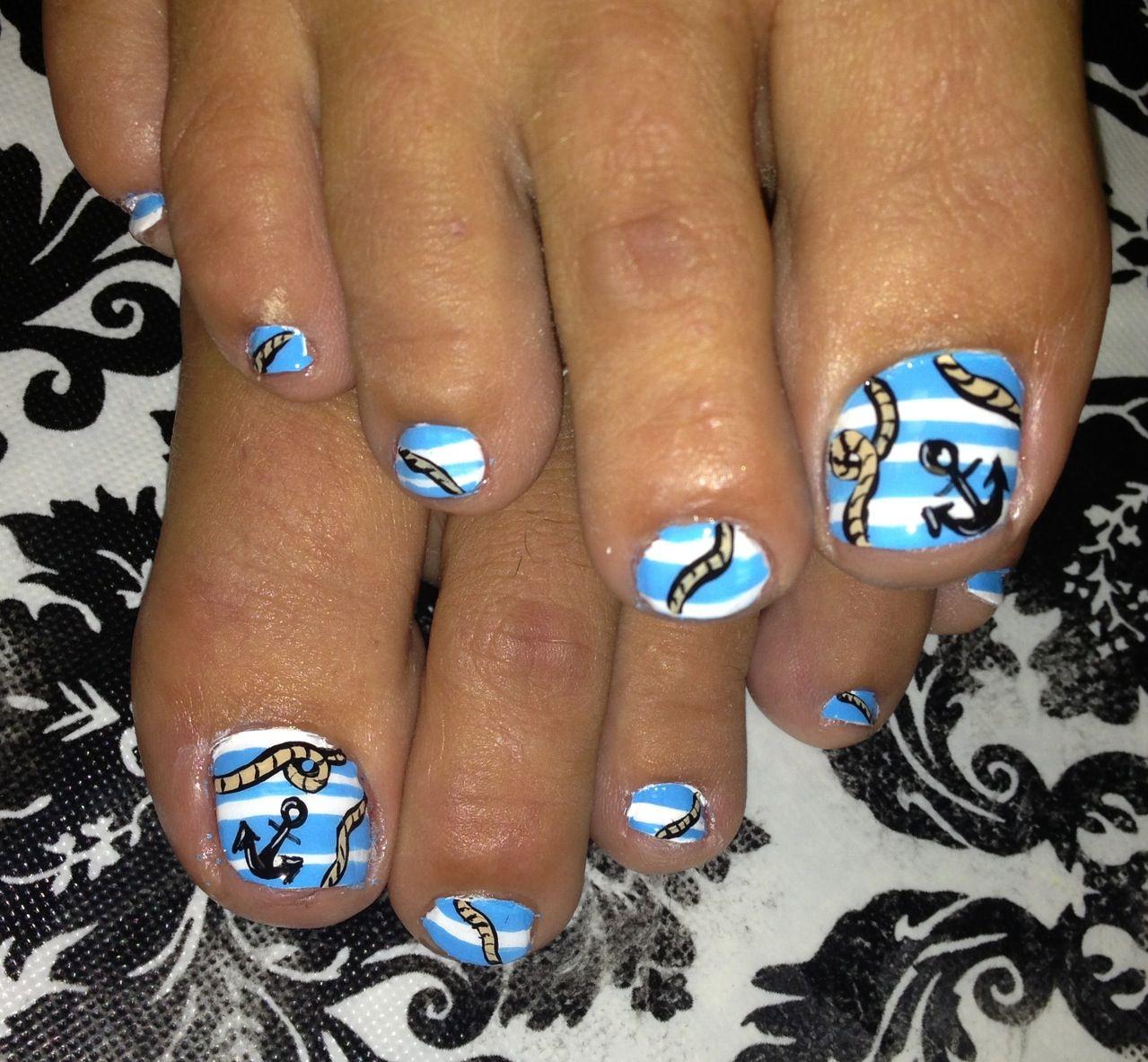 Nautical nail art.