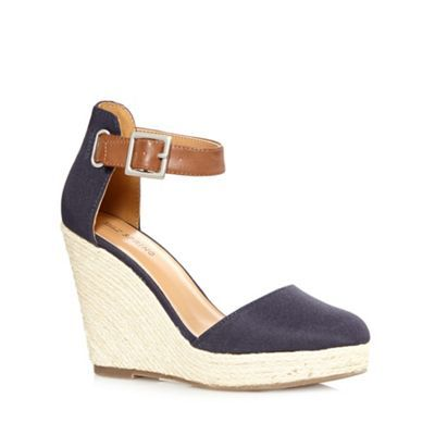 Call It Spring Navy 'Zelini' straw wedge high sandals