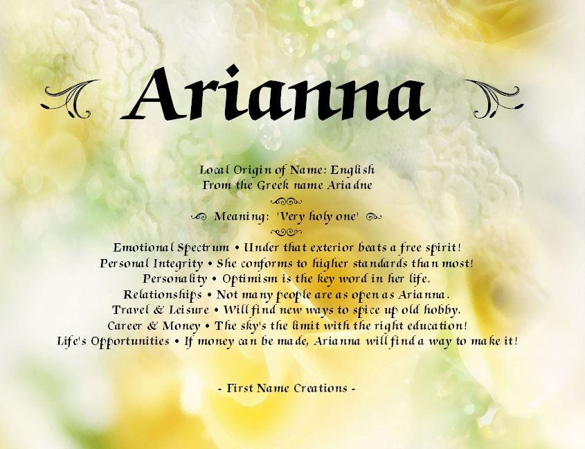12++ Arianna name meaning ideas