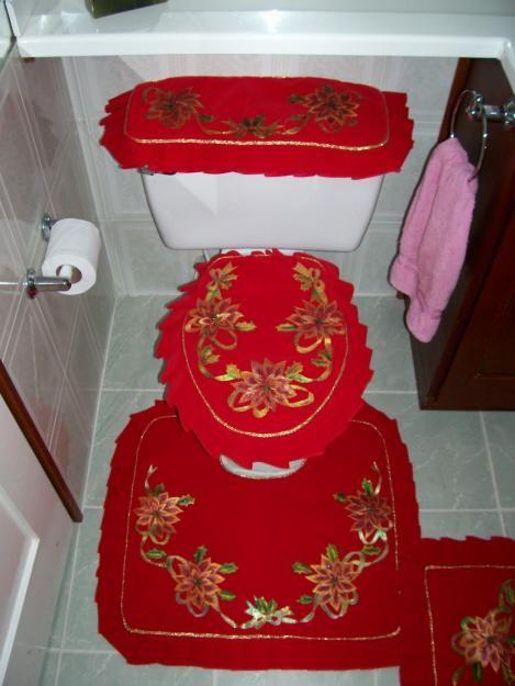 Juego De Baño Navideno De Fieltro:Juego de baño navideño