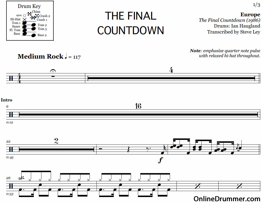 Our Full Drum Sheet Music To Play Along With The Final Countdown