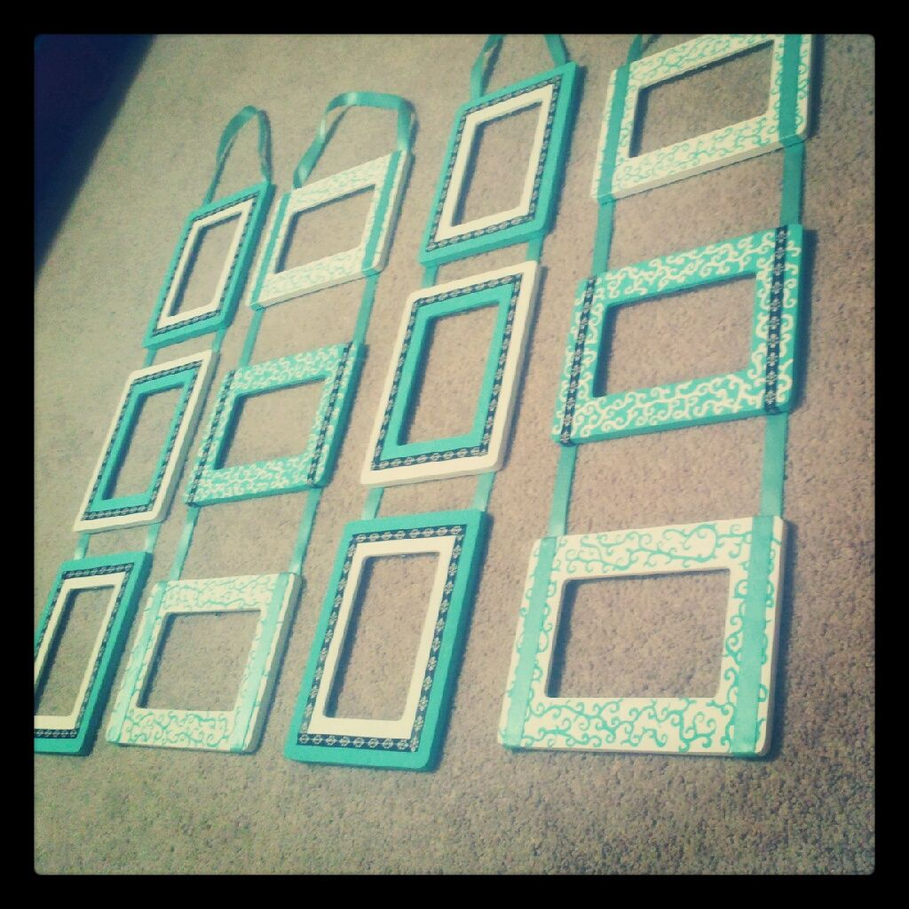 self made picture frames for a dorm with a tiffany blue theme ...