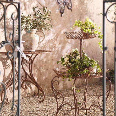Gartentisch Versailles Halb Metall Antik Braun 74cm Hoch Bei Gingar Pflanzenstander Pflanzen Garten