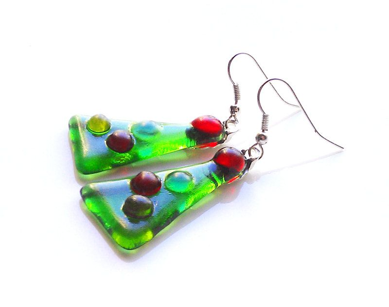 Holiday wear? Don't forget some fun earrings.  #Christmas #Tree Dangle Earrings - Fused Glass. $14.00