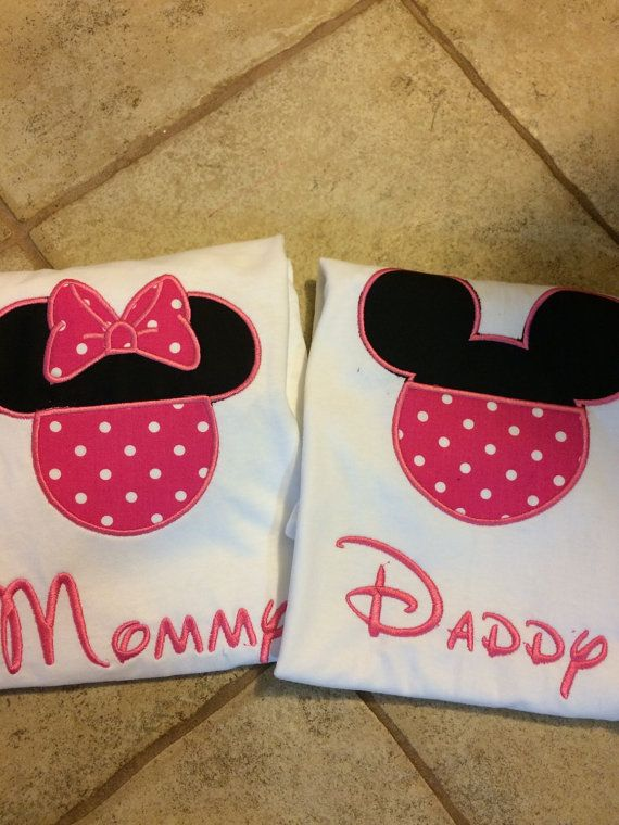 Custom DAD And MOM Mickey And Minnie Mouse T By Knorried001