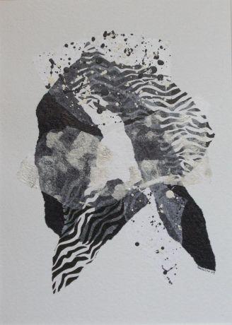 Collages Papiers De Soie Encre De Chine Acryliq Sur Papier