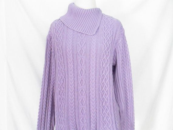 Knitting A Sweater Neckline : Vintage lilac cable knit sweater 90s asymmetrical collar