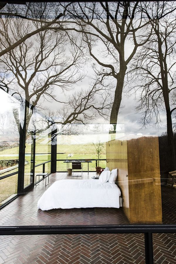 Bedroom. Inside. Outside. Glass Walls. Architecture. Sleep in Nature. Modern. Design. Home.
