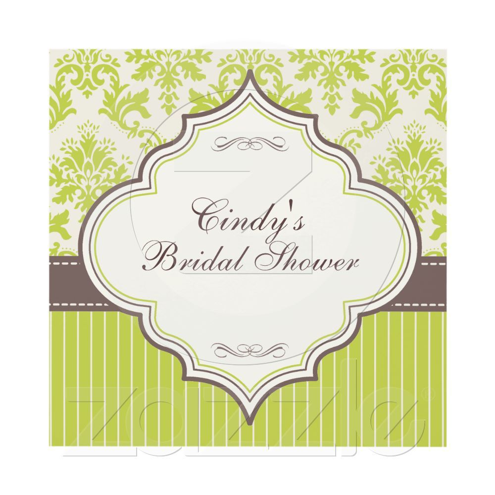 green damask stripe bridal shower invitation this could be nice in red blackwhite scrolly content area will be bigger of course to fit everything