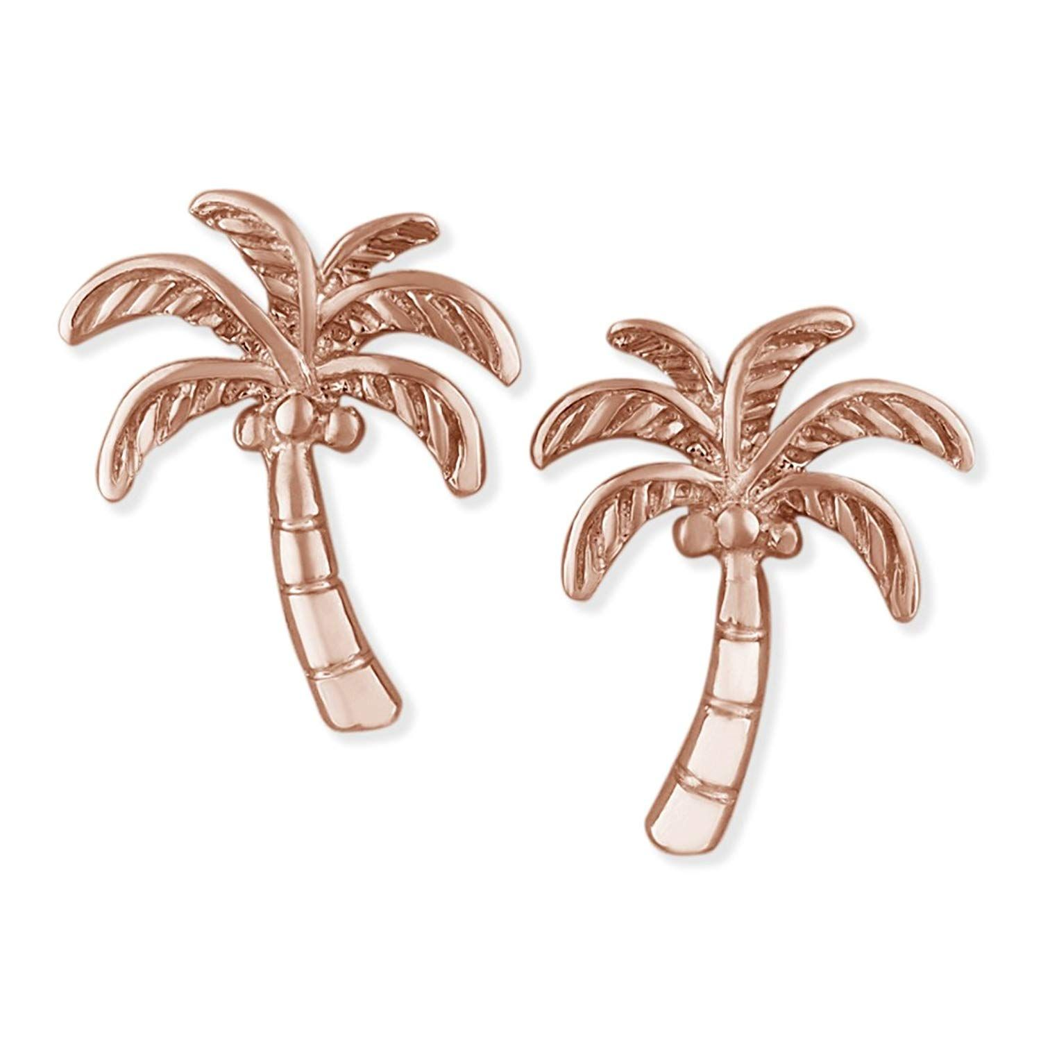 925 Sterling Silver Polished Palm Tree Post Earrings