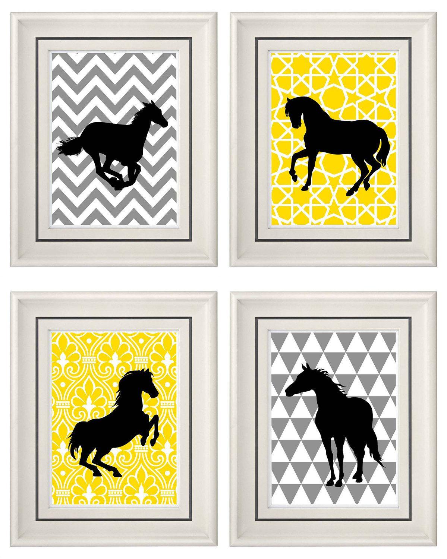 Set of Four Modern Vintage Yellow/Gray Horse Wall Art ...