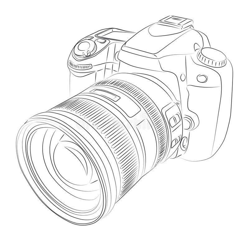 DSLR with lens stock vector. Illustration of black