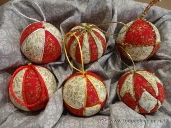 artesana conjunto de seis bolas de navidad patchwork sin aguja artesana cm compra venta y subastas de artesana en
