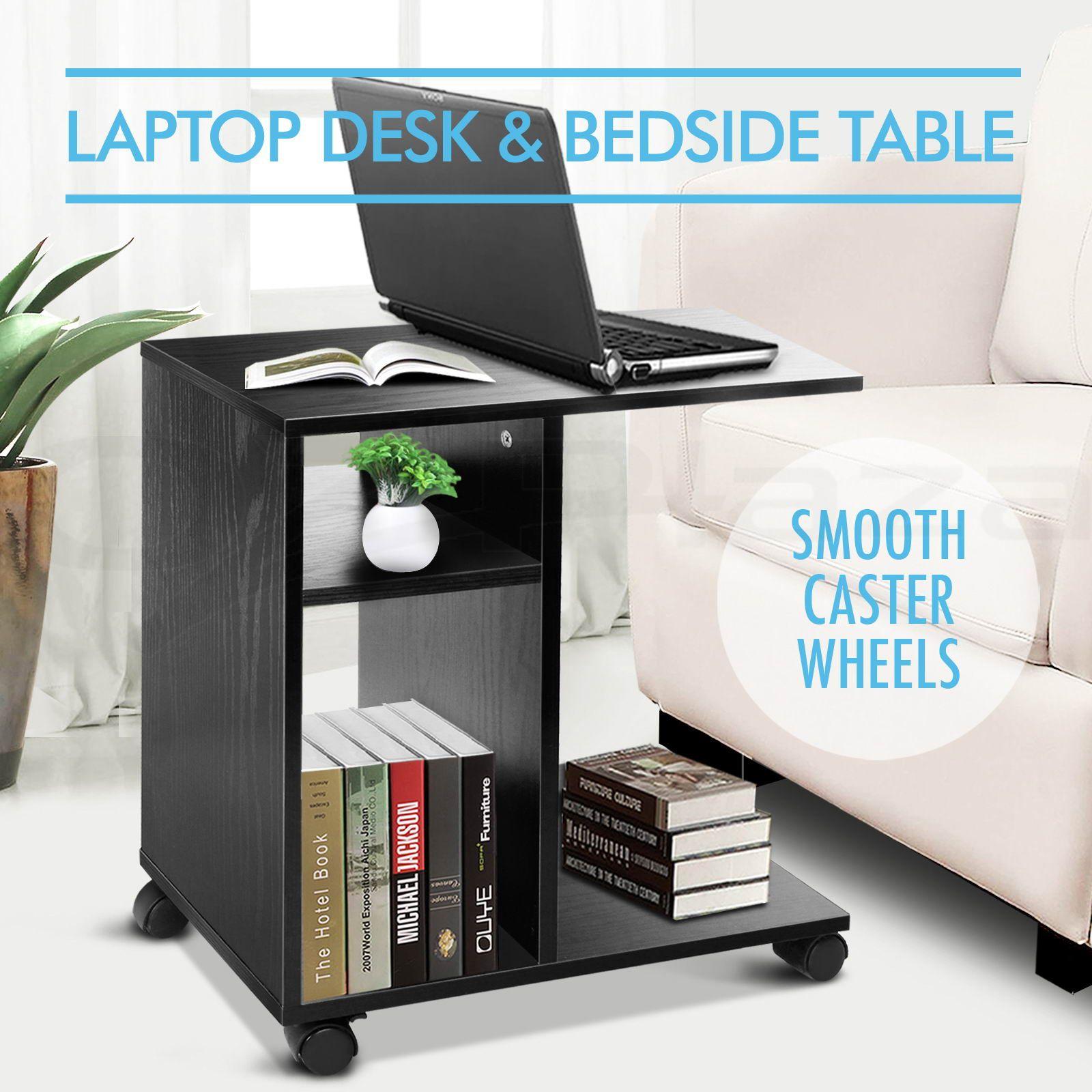 Mobile Computer Laptop Desk Entertainment TV Stand Or Bedside Table   Black