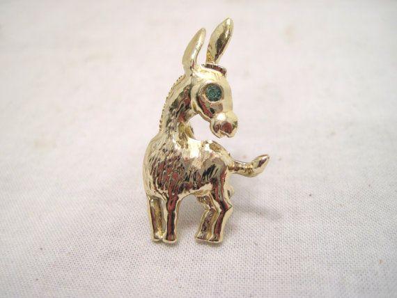 Gold Tone Donkey Lapel Brooch Pin Charm by RusticNickNacknStuff