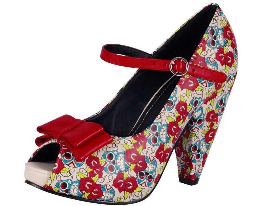 T.U.K. Day of The Dead Print Rocket Heel Dames Shoes Heels at Broken Cherry
