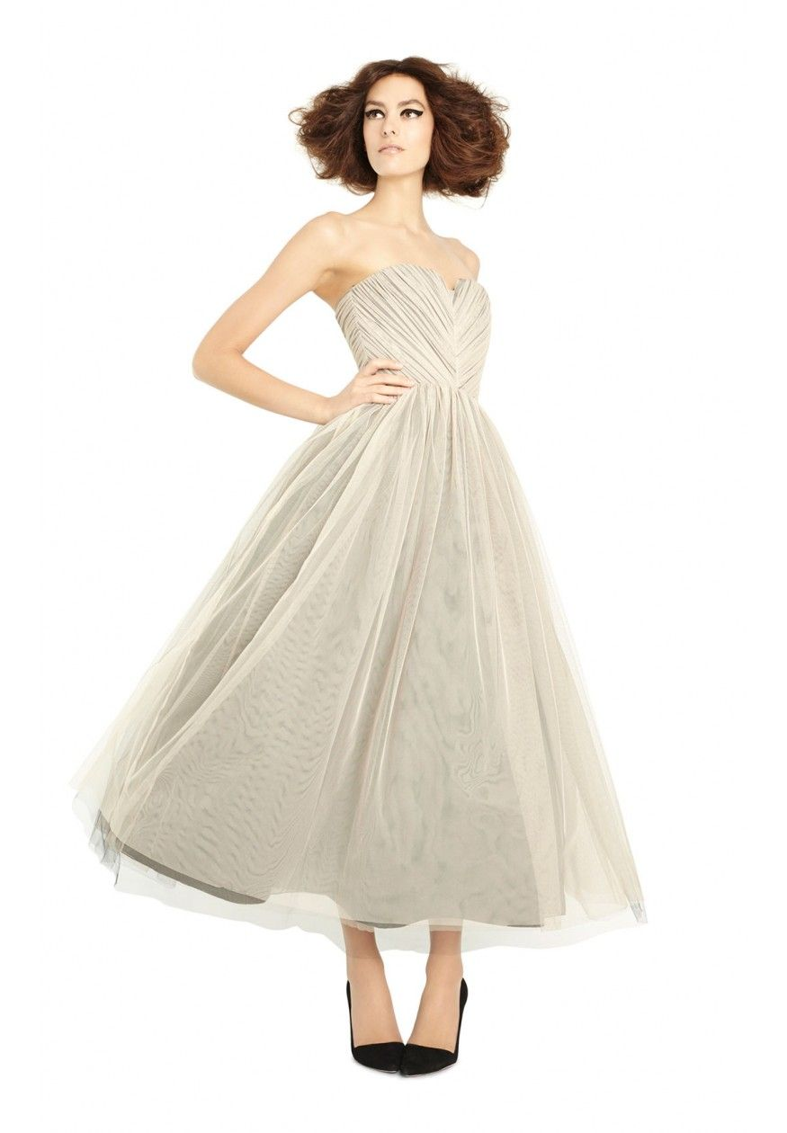Kelly princess gown in nude by alice olivia clothing