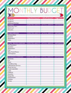 free printable monthly budget worksheet planner pinterest