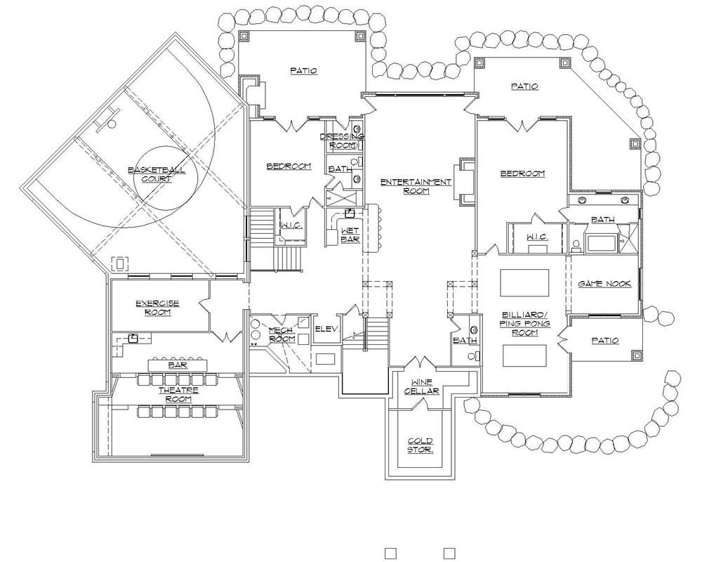 135 1036 floor plan basement house plans pinterest for Basketball court plan
